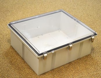 Fiberglass Box with Stainless Steel Latch and Clear Cover PTQ-11080-C closed