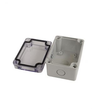 Fiberglass Box with Knockouts and Clear Cover PTK-18420-C open