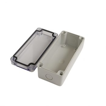 Fiberglass Box with Knockouts and Clear Cover PTK-18424-C open