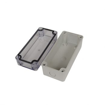 Fiberglass Box with Knockouts and Clear Cover PTK-18425-C open