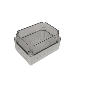 Fiberglass Box with Knockouts and Clear Cover PTK-18429-C closed