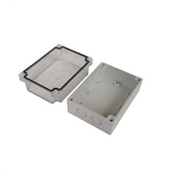 Fiberglass Box with Knockouts and Clear Cover PTK-18429-C open