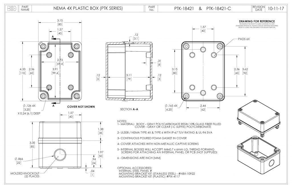 PTK-18421-C Dimensions