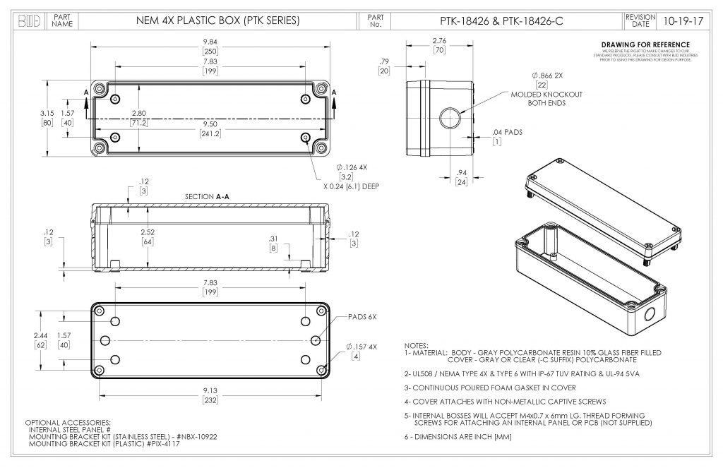 PTK-18426 Dimensions