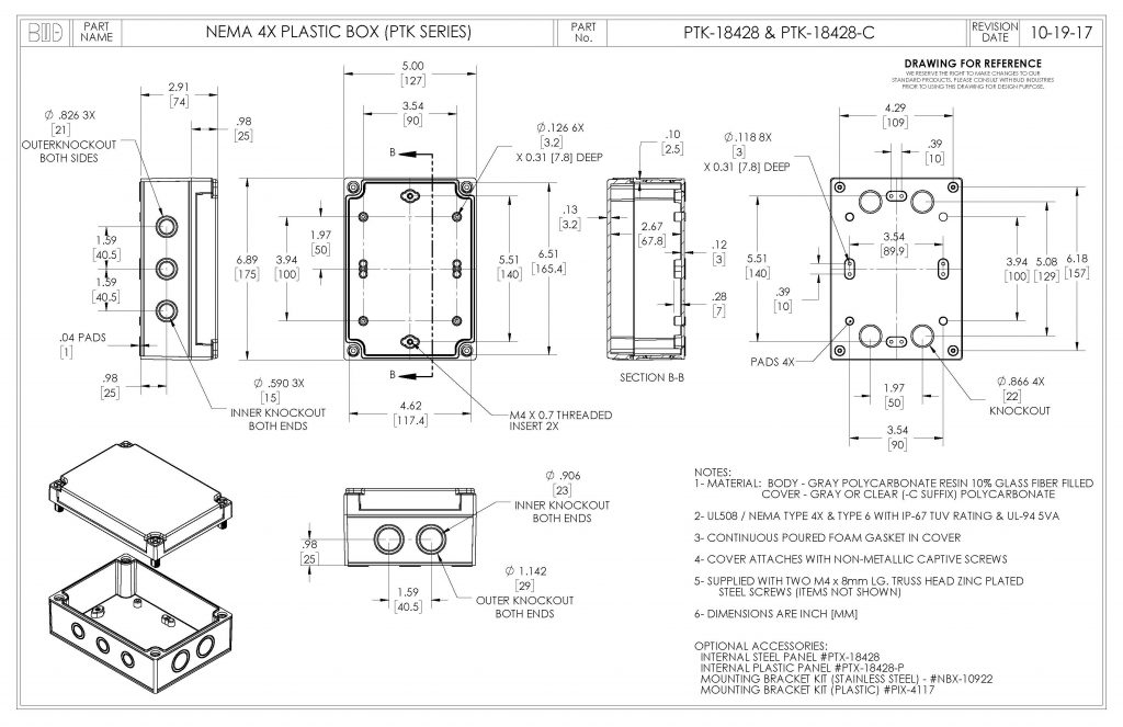 PTK-18428 Dimensions