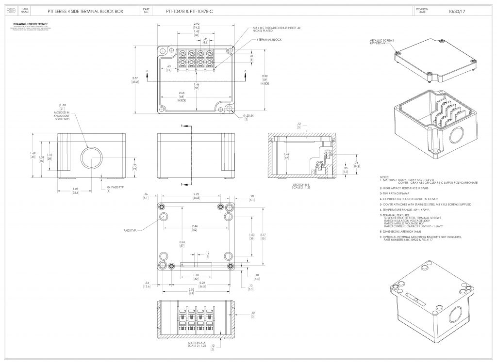 PTT-10478-C Dimensions
