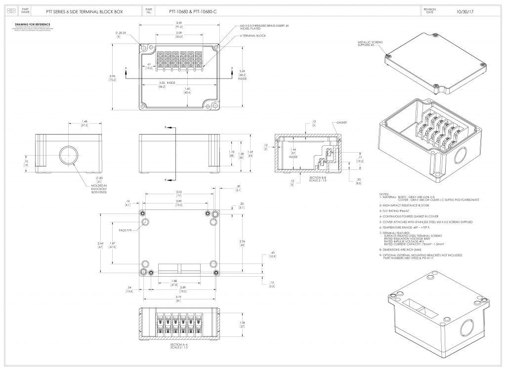 PTT-10680-C Dimensions