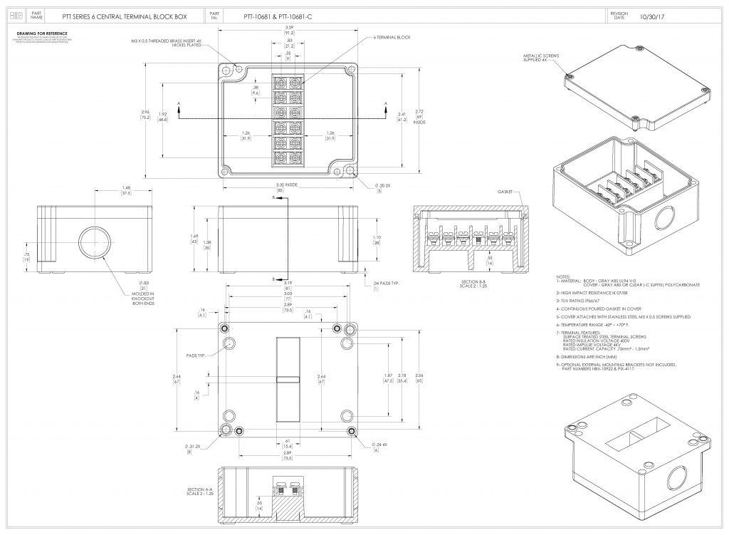 PTT-10681-C Dimensions