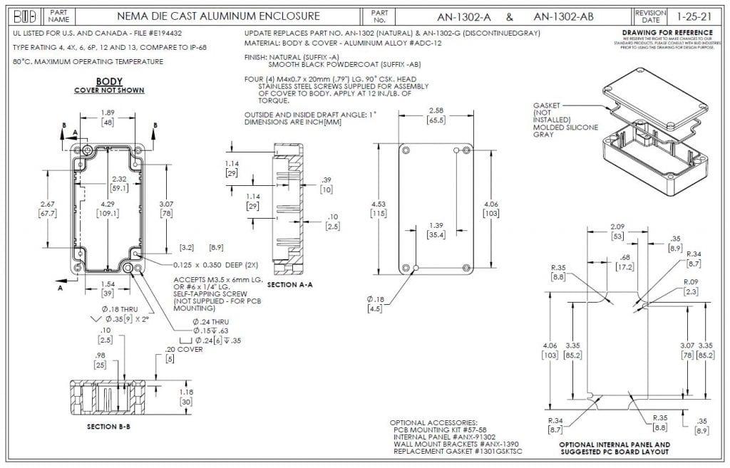 AN-1302-AB Dimensions