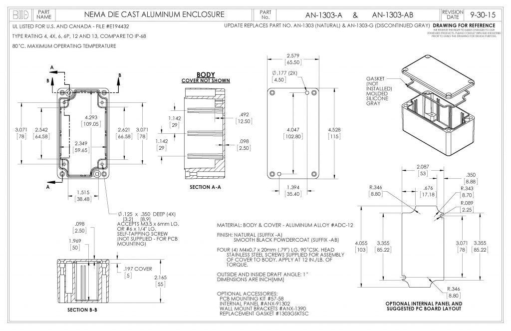 AN-1303-AB Dimensions