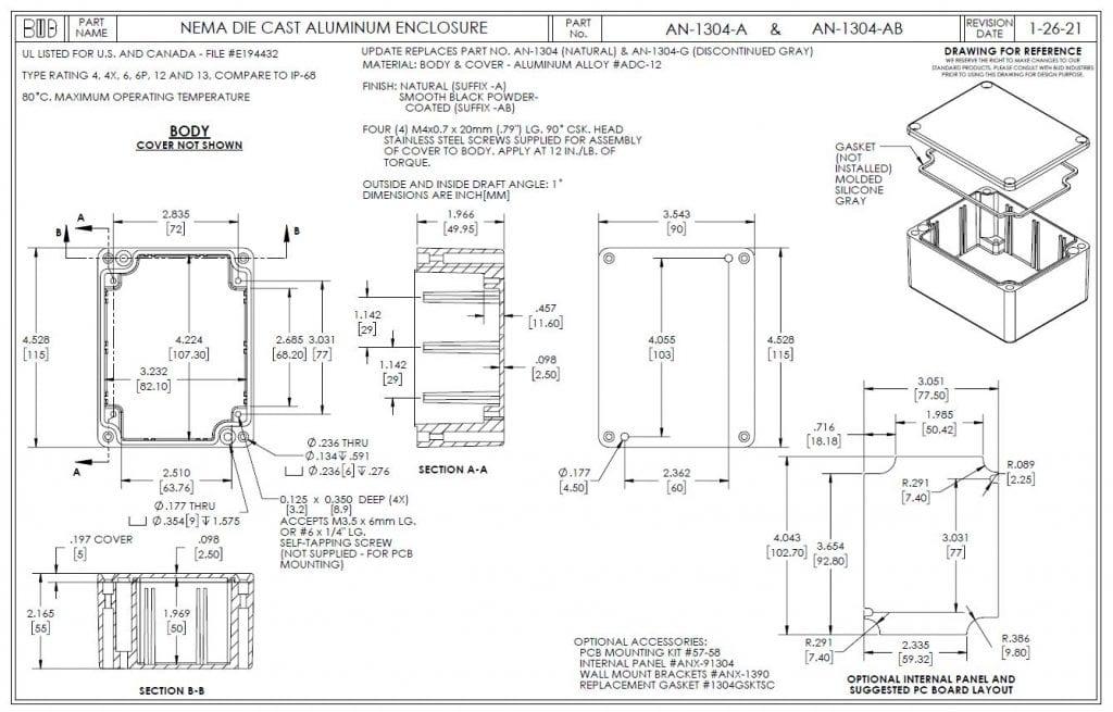 AN-1304-AB Dimensions