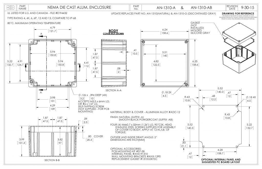 AN-1310-AB Dimensions