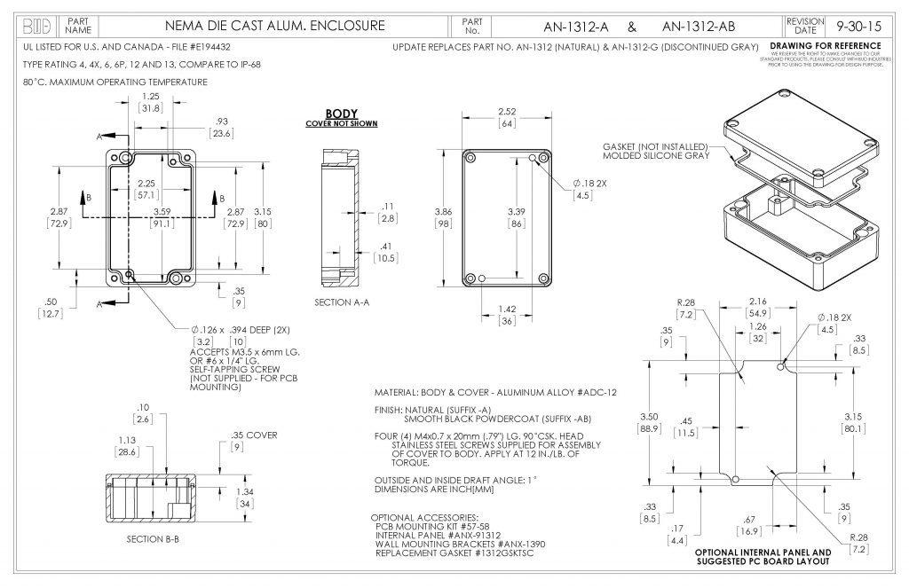 AN-1312-A Dimensions
