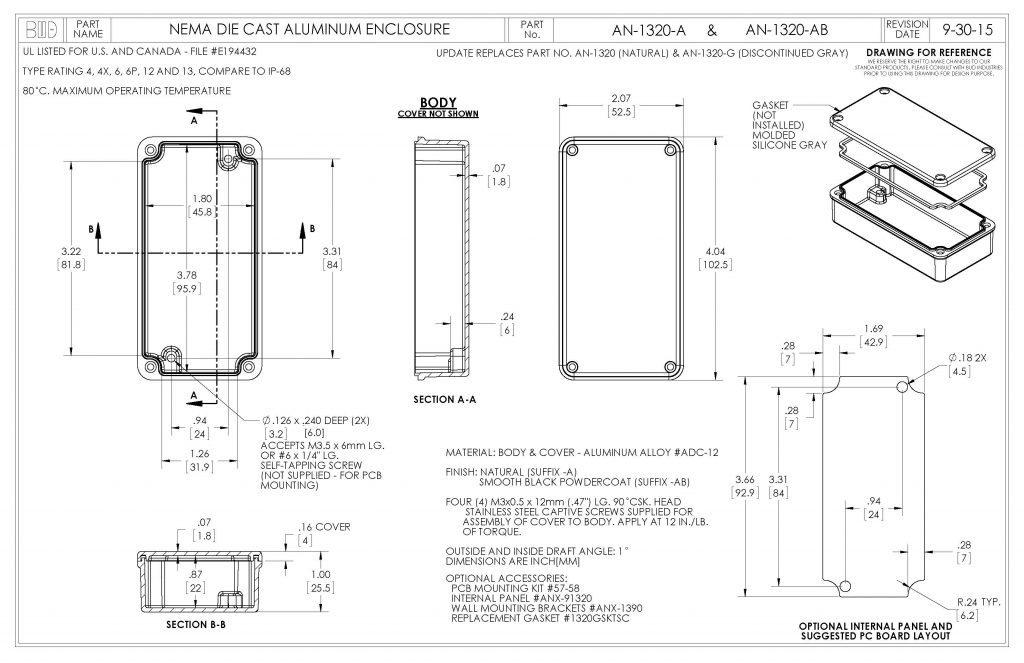 AN-1320-AB Dimensions