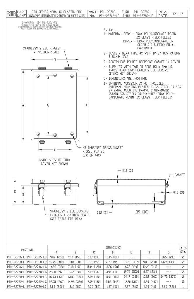 PTH-22706-LC Dimensions