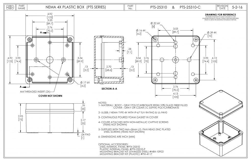 PTS-25310 Dimensions