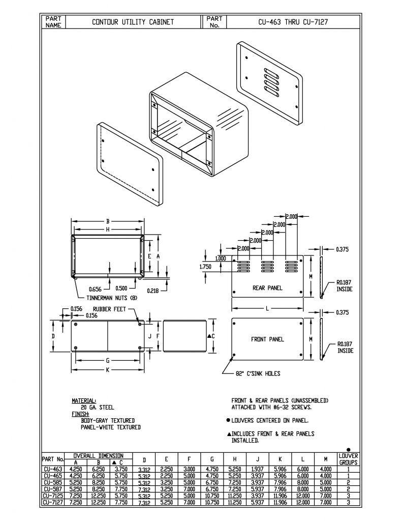 CU-7125 Dimensions