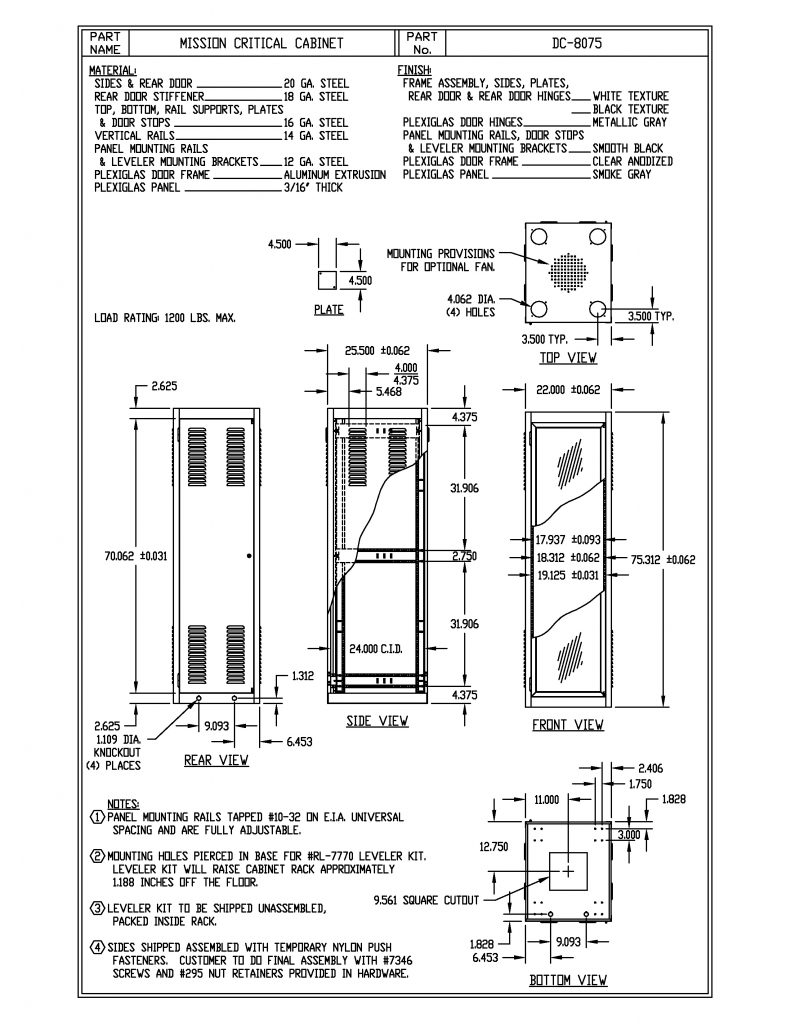 DC-8075-WH Dimensions