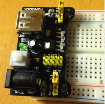 breadboard-mounted power supply