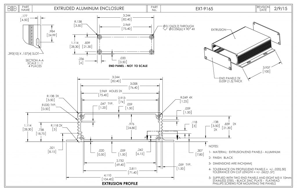 EXT-9165 Dimensions