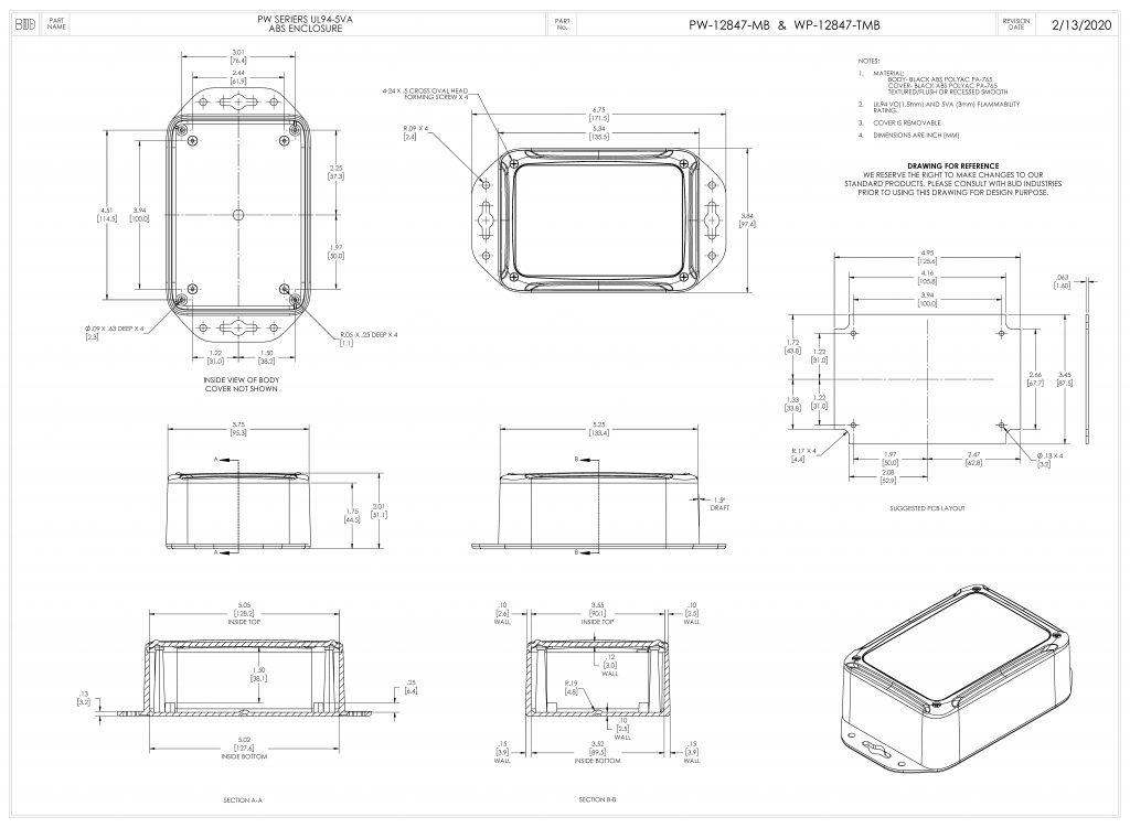 PW-12847-MB Dimensions