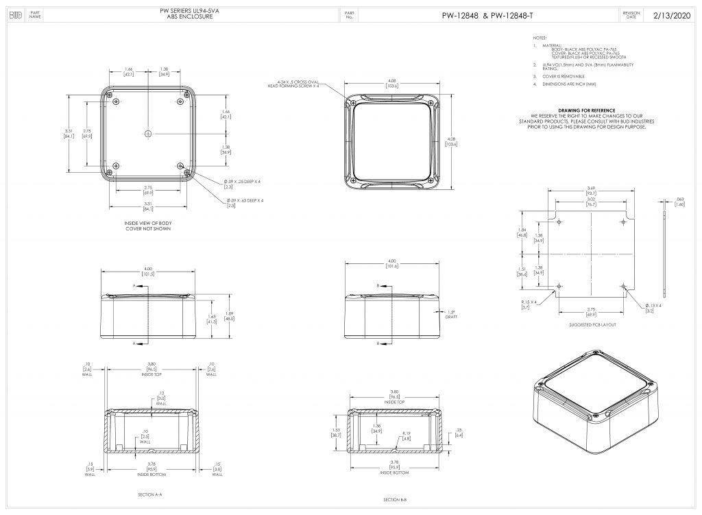 PW-12848-T Dimensions