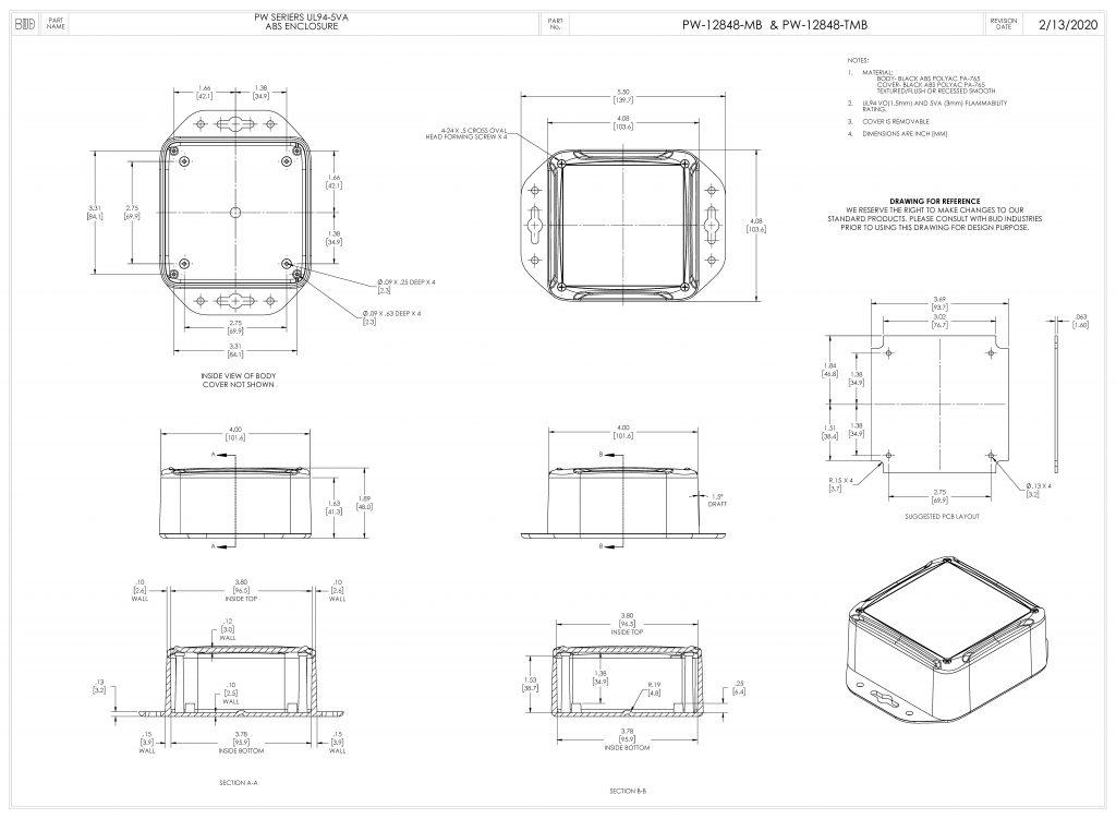 PW-12848-TMB Dimensions