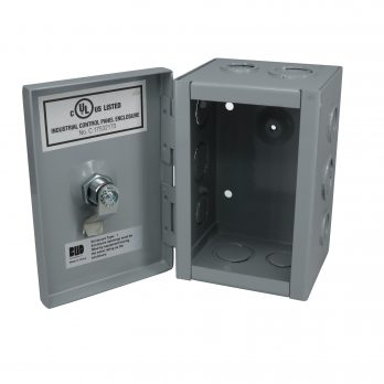 Hinged Junction Box with Knockouts JBH-4944-KO open