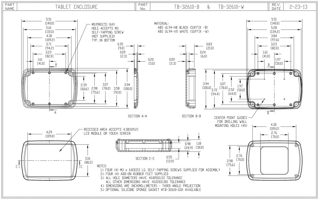 TB-32610-W Dimensions
