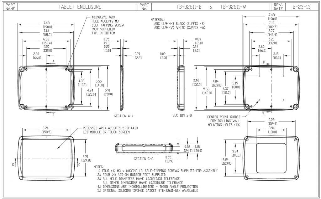 TB-32611-B Dimensions