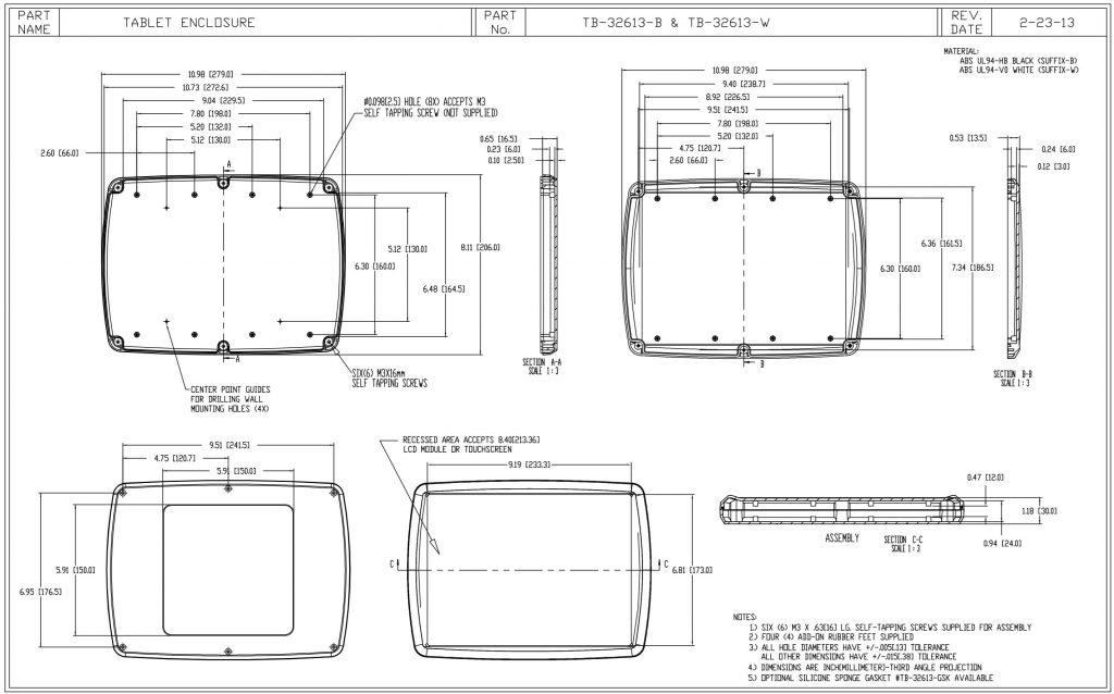 TB-32613-W Dimensions