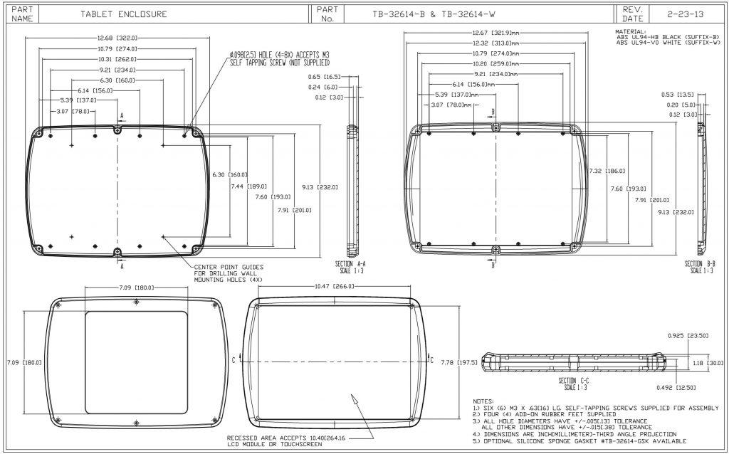 TB-32614-W Dimensions