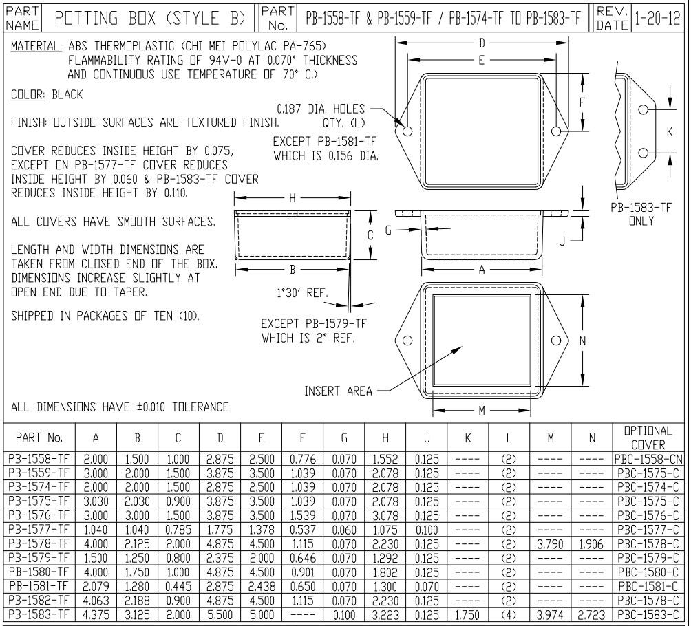 PB-1558-TF Dimensions