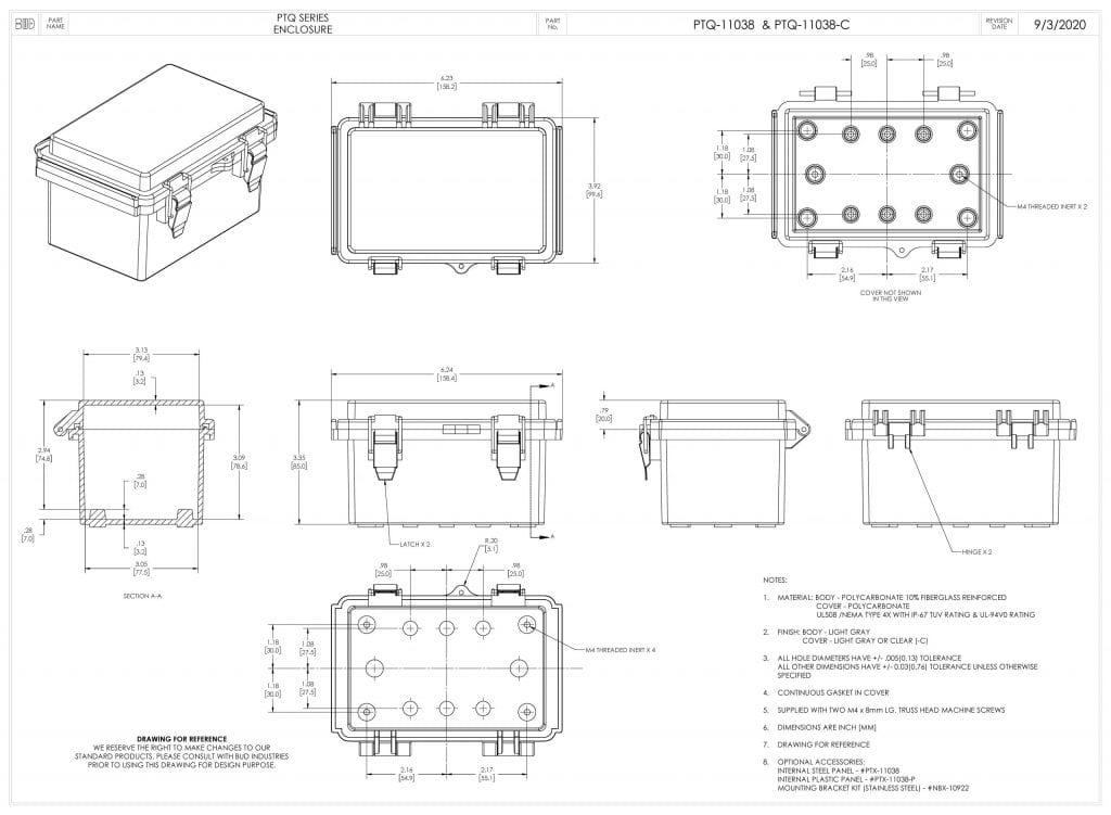 PTQ-11038-C Dimensions