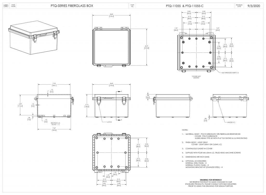 PTQ-11055 Dimensions