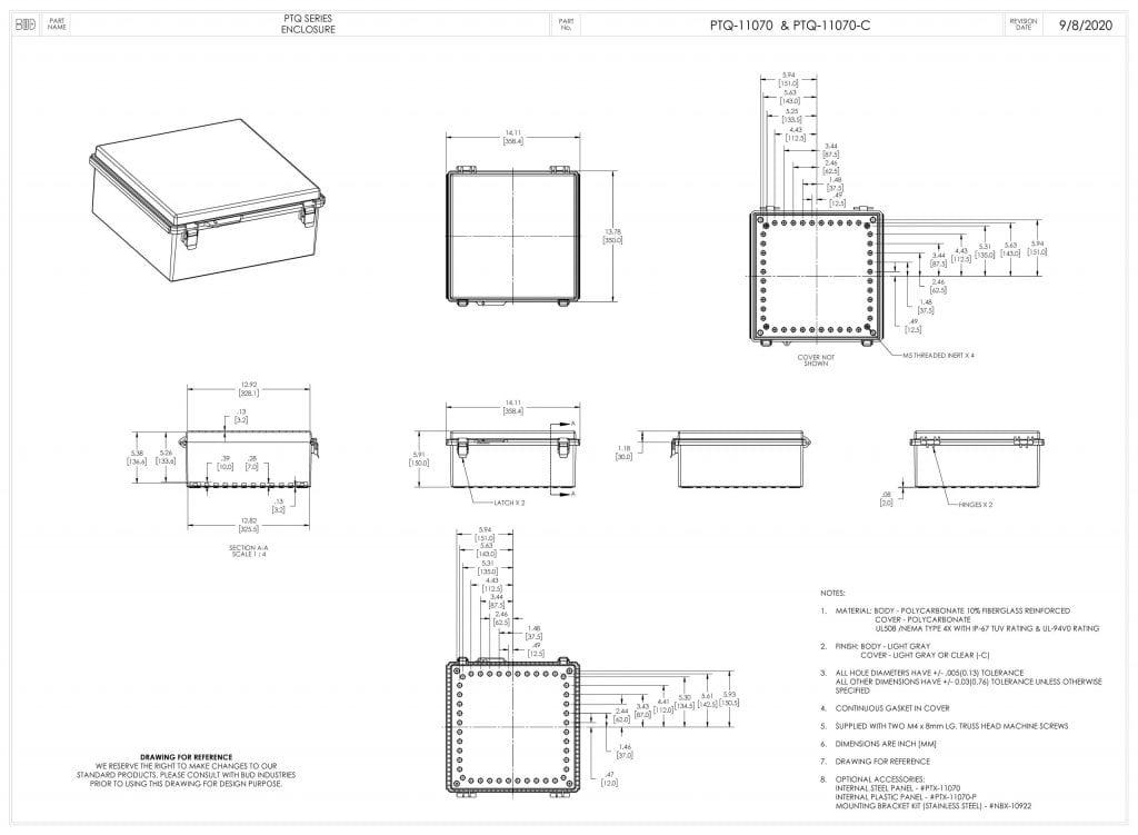 PTQ-11070 Dimensions