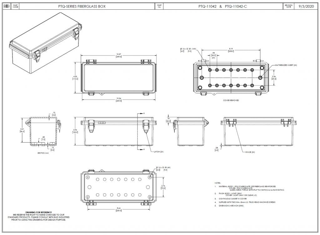 PTQ-11042-C Dimensions