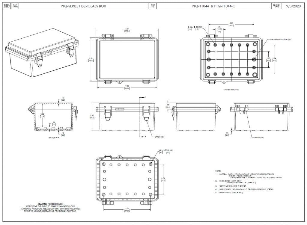 PTQ-11044-C Dimensions