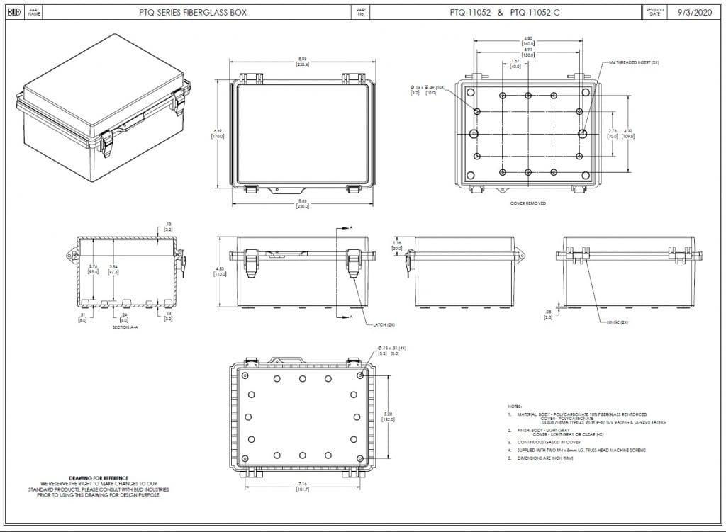 PTQ-11052 Dimensions