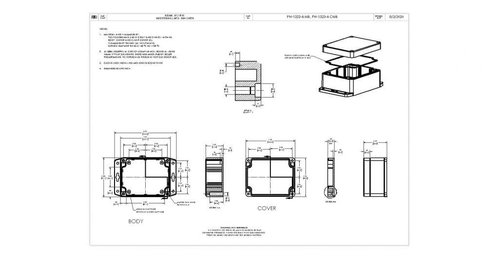 PN-1323-AMB Dimensions