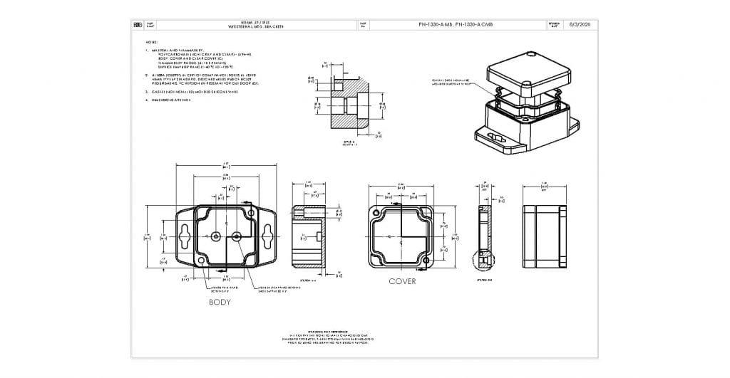 PN-1330-AMB Dimensions