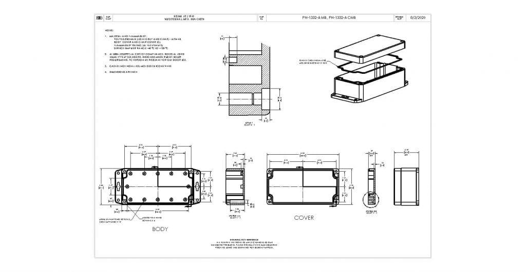 PN-1332-ACMB Dimensions