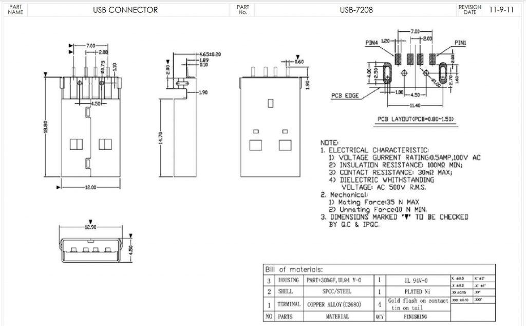 USB-7208 Dimensions