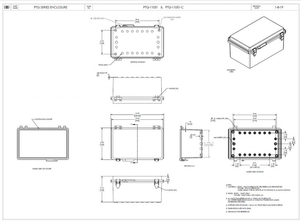 PTQ-11051 Dimensions